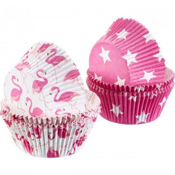 """Westmark Muffinförmchen aus Papier """"Flamingo/Sterne"""" (Weiß/Pink)"""