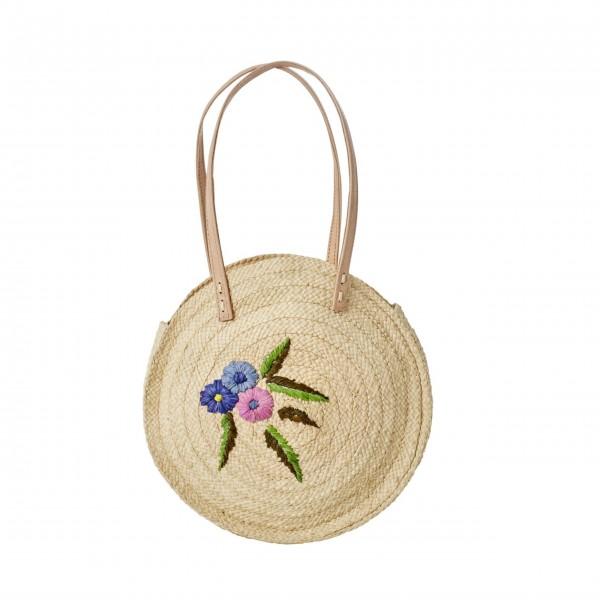 """Rice Tasche mit Blumen """"Raffia"""" (Natur)-1"""