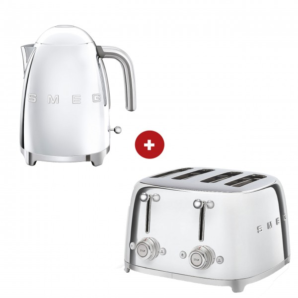 smeg Set – 4-Schlitz-Toaster und Wasserkocher feste Temperatur (Chrom)