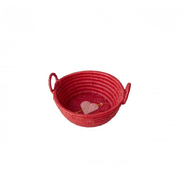 rice Körbchen aus Raffia - Mini (Rot)