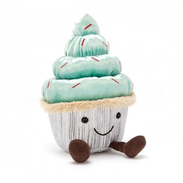 """Jellycat Stofftier Cupcake """"Minty Cutie"""" (Blau/Silber/Schwarz/Braun)"""