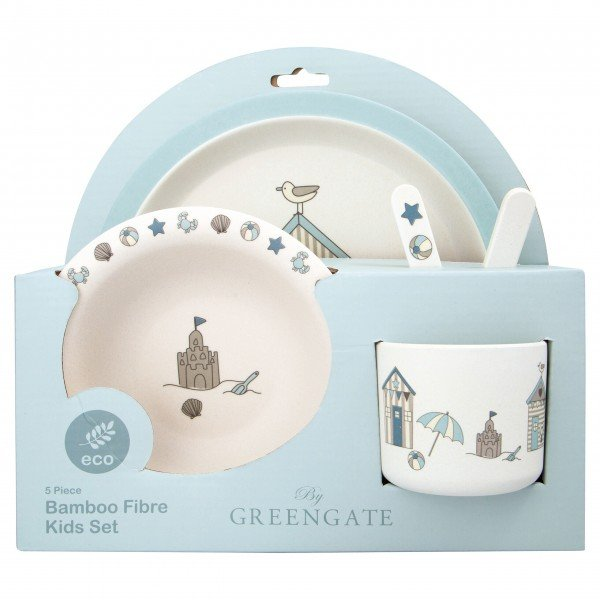 "GreenGate Kinder-Bambusgeschirr ""Ellison"" (Pale Blue)"