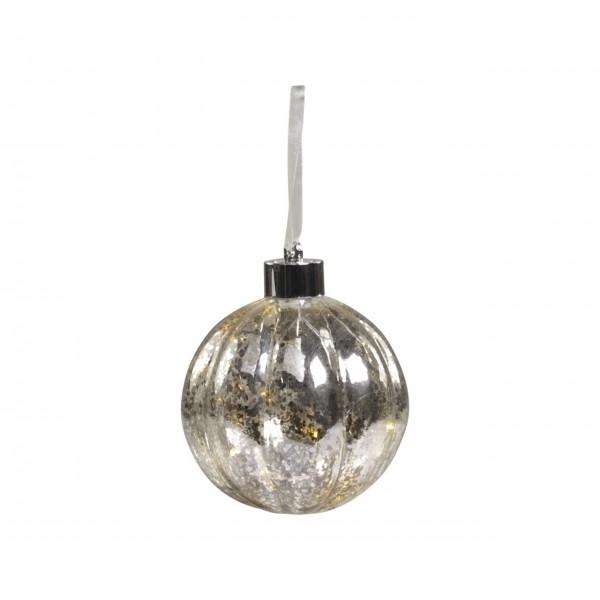 """Christbaumkugel mit LED """"Rillen-X19"""" (Silber) von Chic Antique"""