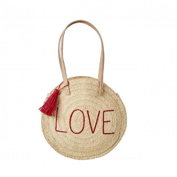 """Rice runde Tasche """"Raffia - Love"""" (Natur)-1"""