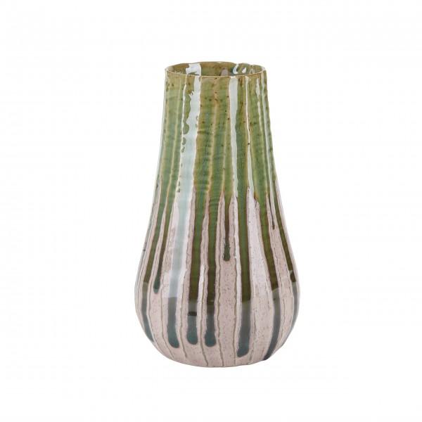 Vase mit Streifen (Grün / Rosa) von Bahne