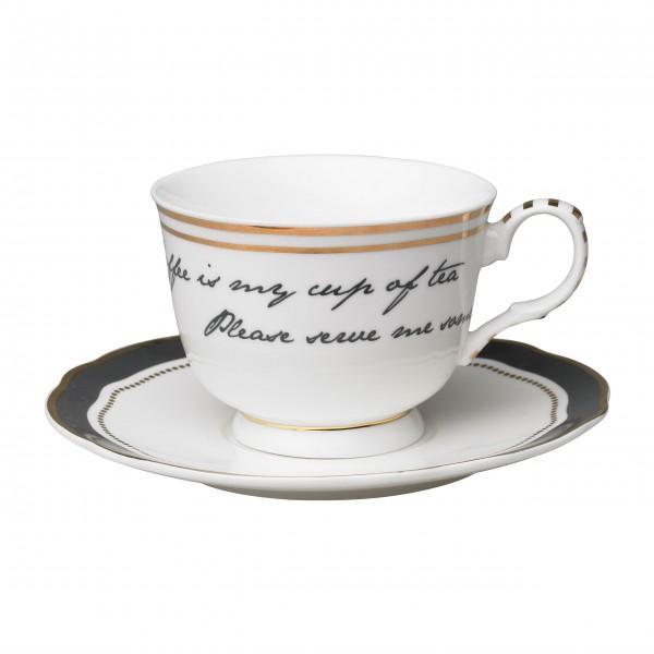 Super schöne Kaffeetasse mit Unterteller von Molly Marais
