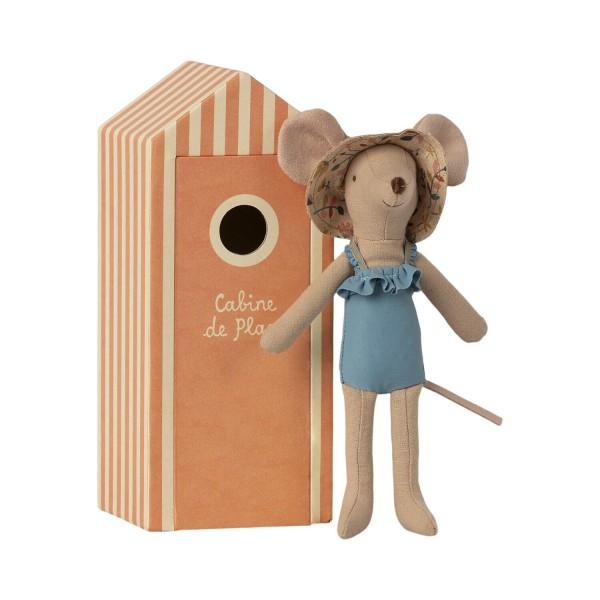 Maileg Mama-Maus mit Strand-Haus (Orange)