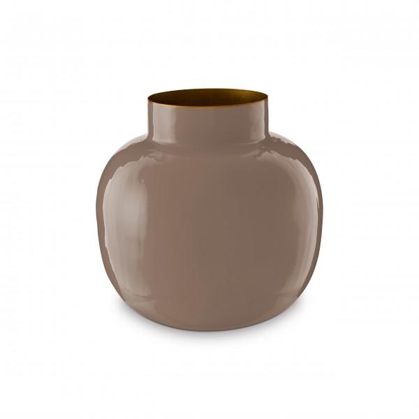 """Pip Studio Runde Vase aus Metall """"Blushing Birds"""" (Khaki)"""