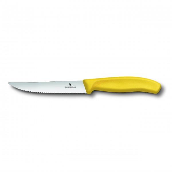 """VICTORINOX """"SwissClassic'"""" Gourmet Steakmesser mit Wellenschliff (gelb) 12cm"""