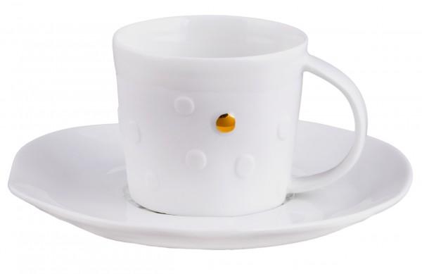 """Espressotasse """"Mix & Match"""" weiß/gold (Punkte) von räder Design"""