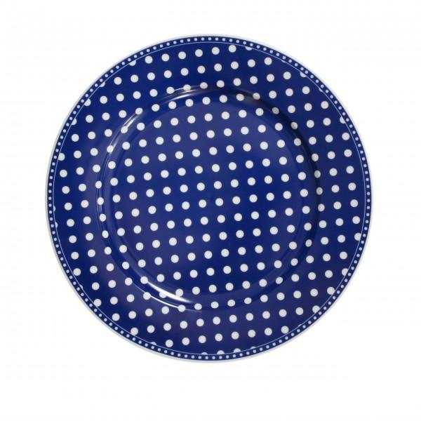 Blauer Porzellanteller mit Punkten - von Krasilnikoff