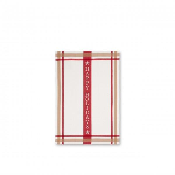 Geschirrtuch aus Baumwolle - 50x70 cm (Weiß/Rot) von Lexington