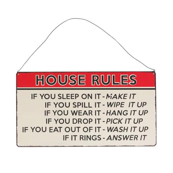 Hausregeln auf Metallschild!