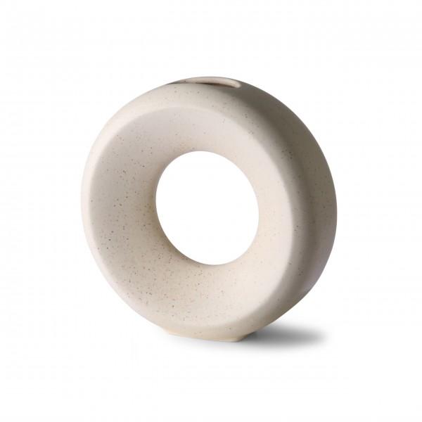 Vase aus Keramik - rund M (Gesprenkelt - Weiß) von HKliving