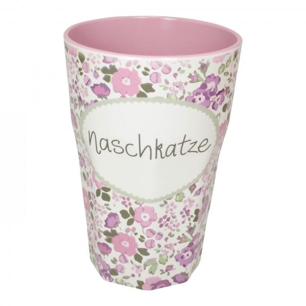 """Großer Melaminbecher """"Naschkatze"""" (Rosa)"""