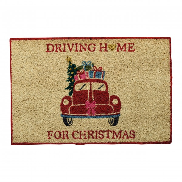 "GreenGate Kokos-Fußmatte ""Christmas Car"" (Red)"