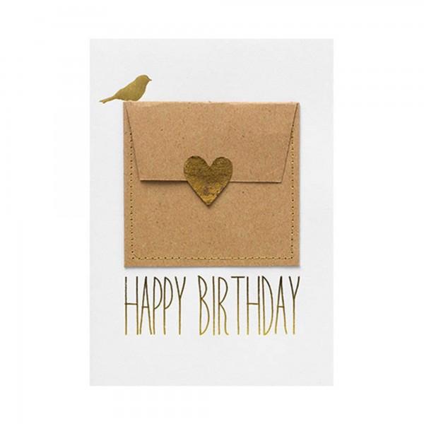 """Glückwunschkarte Gutscheinkarte """"Happy Birthday"""" (Herz/gold) von räder Design"""