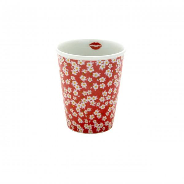 "Ein echter Blütentraum - der Rice Porzellan Becher ""Dusty Rose - Kiss Mouth"" - 225 ml (Weiß/Rot)"