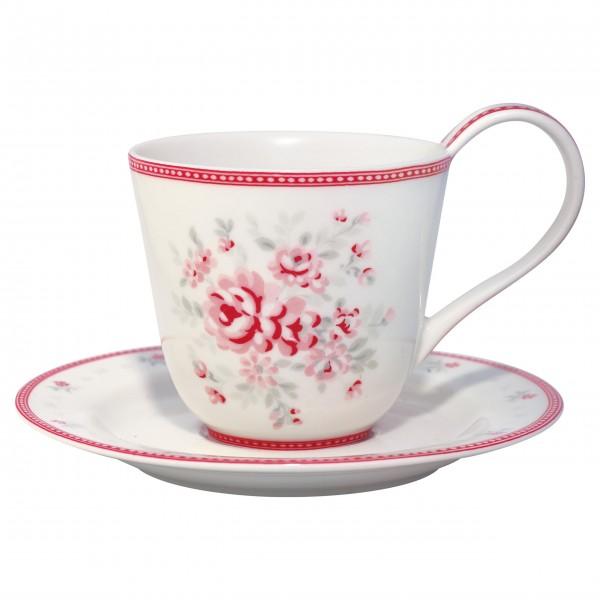 "GreenGate Kaffeetasse mit Untertasse ""Flora"" (White)"