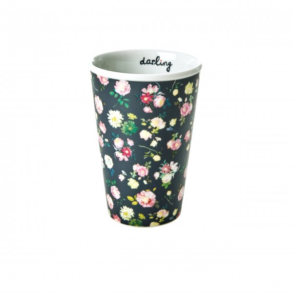 "Rice Porzellan Becher ""Dark Rose - darling"" - 300 ml (Schwarz)"