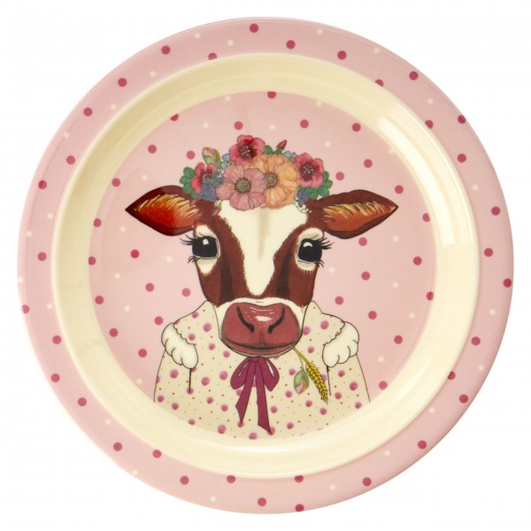 "Rice Melamin Kinderteller ""Farm Animals - Kuh"" (Rosa)-1"