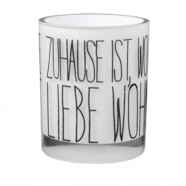 """Windlicht aus Glas """"Zuhause"""" (Zuhause ist...) - 10x10 cm von räder Design"""