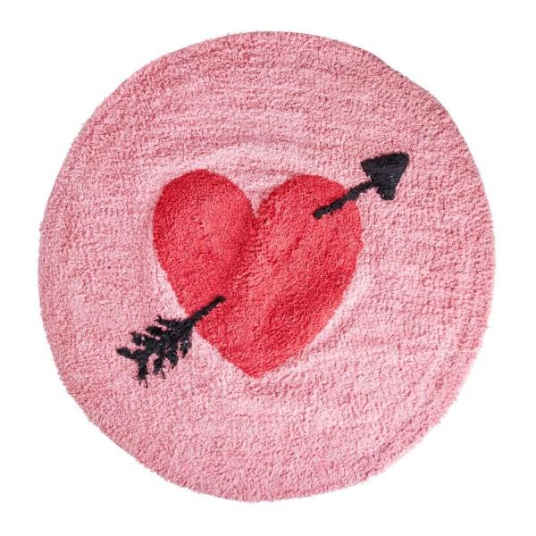 rice Teppich mit Herzen - Rund (Rot/Pink)