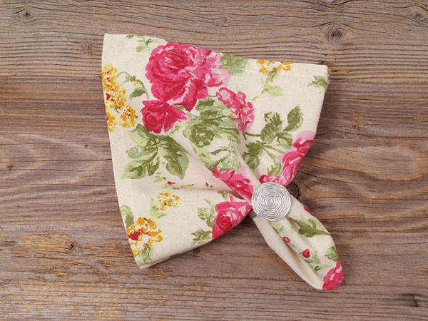 """Country Home Style Serviette """"New Roses"""" (rosa) 45x45cm"""