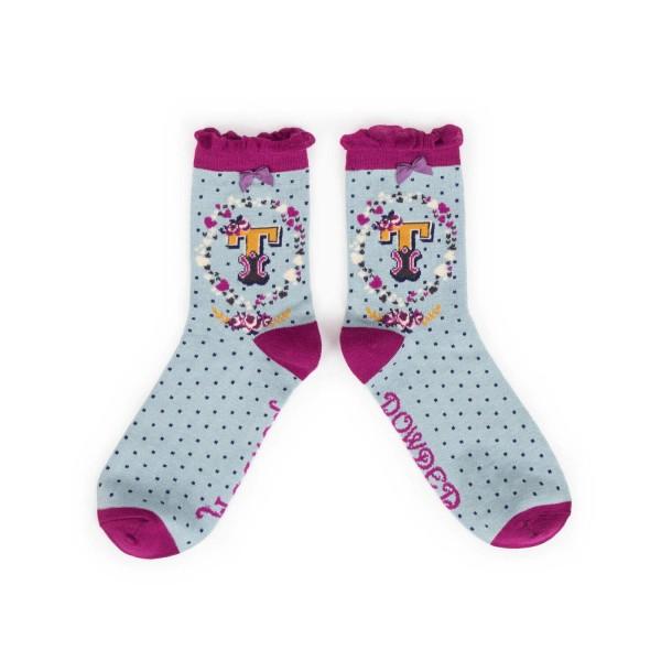 """Powder Damen Socken """"A-Z"""" - Buchstabe T"""
