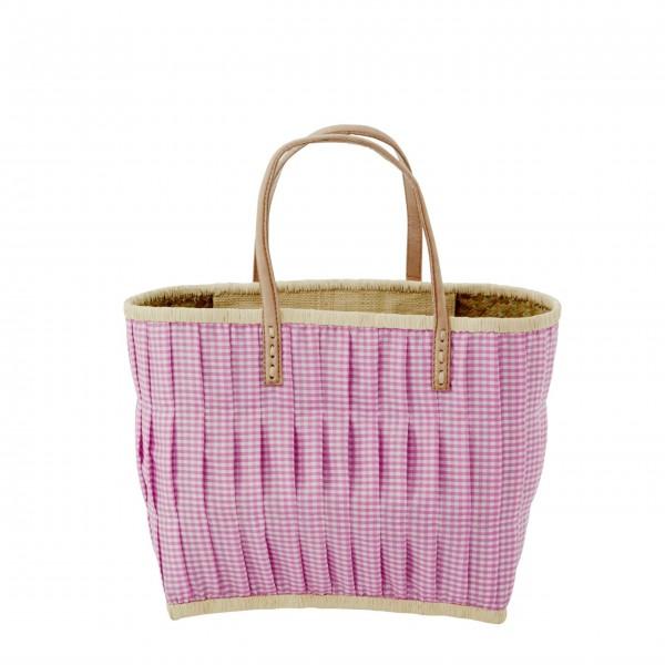 rice Korbtasche aus Raffia - Medium (Dunkles Pink)