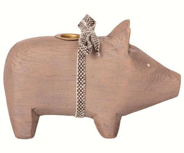 Kleines Dekoschweinchen von Maileg als Kerzenständer
