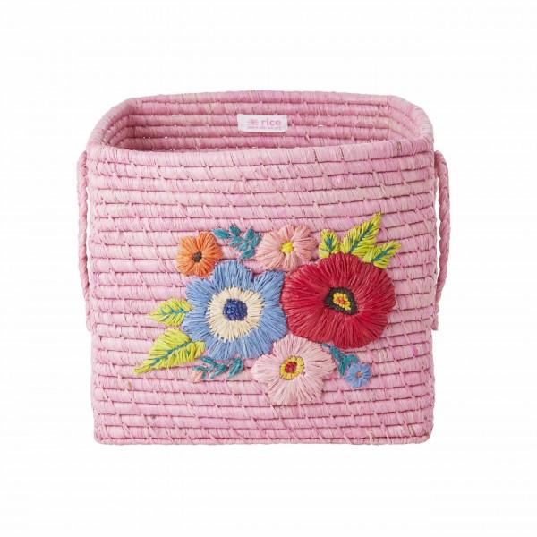 """Rice Aufbewahrungskorb """"Flowers"""" (Pink)"""