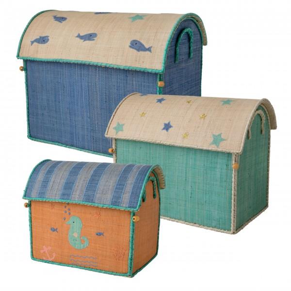 "Rice Spielzeugkorb ""Sea Theme"" (Blau)"