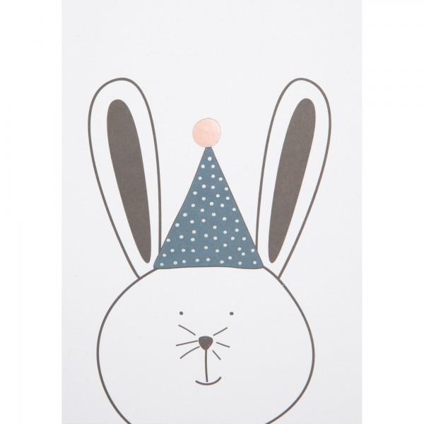 """Postkarte """"Tierparty Feier Hase"""" von räder Design"""