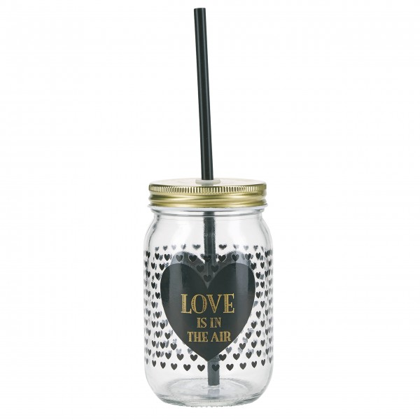 "Miss Étoile Smoothieglas ""Love is in the air"" - Mit Strohhalm (Schwarz/Gold)-4966617-1"