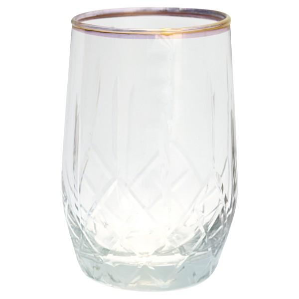 "GreenGate WAsserglas ""Diamond"" mit goldenem Detail"