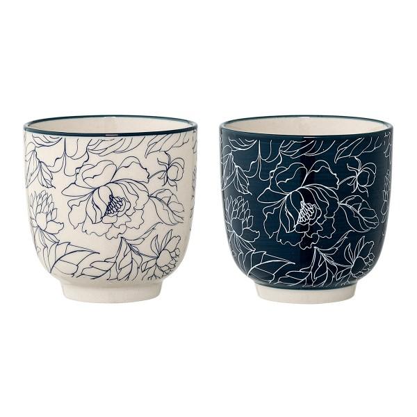 """Bloomingville Keramikbecher """"Fleur"""" (Blau/Weiß)"""