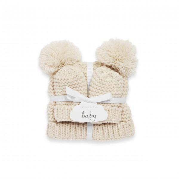 """Baby-Mütze und Handschuhe """"Teddy"""" (Creme) von KATIE LOXTON"""