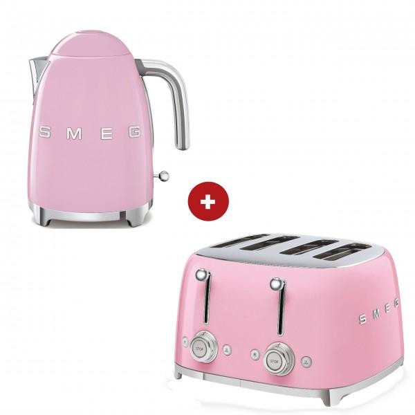 smeg Set – 4-Schlitz-Toaster und Wasserkocher feste Temperatur (Cadillac Pink)