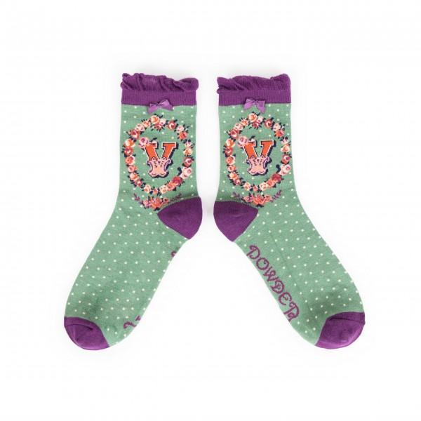 "Powder Damen Socken ""A-Z"" - Buchstabe V"