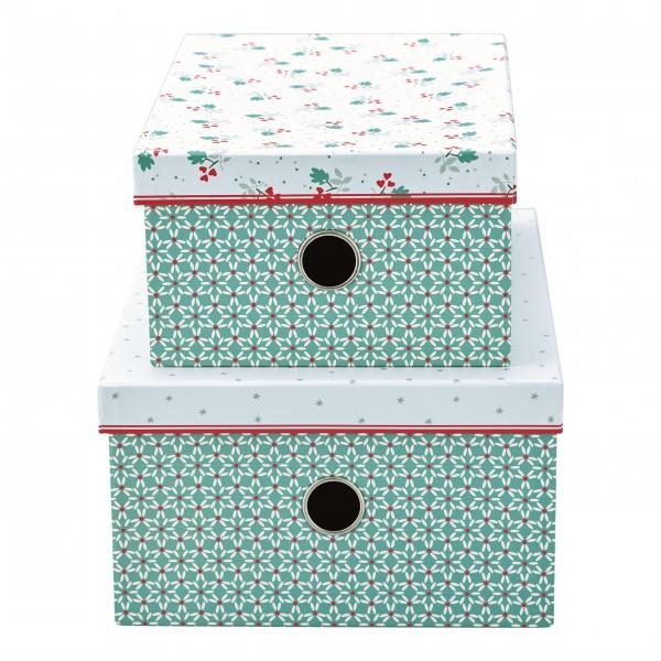 "GreenGate Aufbewahrungsbox im 2er-Set ""Christmas Car"" (Red)"
