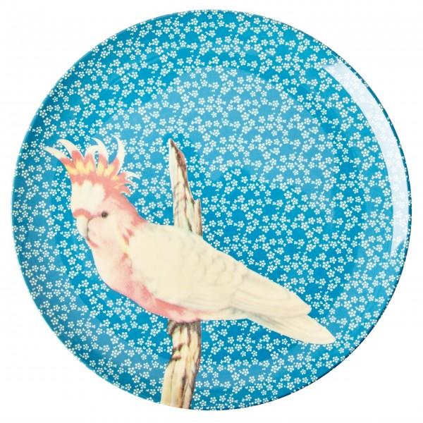 "Piep, piep, piep - hier kommt der Rice Melamin Essteller ""Vintage Bird"" (Blau)"