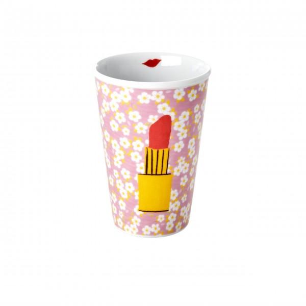 """Rice Porzellan Becher """"Small Flower and Lipstick - Kiss"""""""