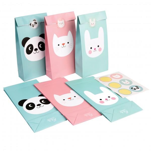 Sechs Papiertüten mit süßen Tiergesichtern