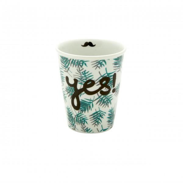 "Rice Porzellan Becher ""Palm Leaves - Yes - Moustache"" - 225 ml (Weiß/Grün)"
