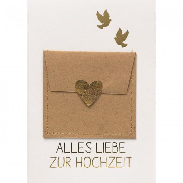 """Glückwunschkarte Gutscheinkarte """"Alles Liebe zur Hochzeit"""" (Herz/gold) von räder Design"""