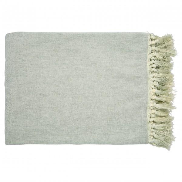GreenGate Decke mit Fransen - 180x130cm (Dusty mint)