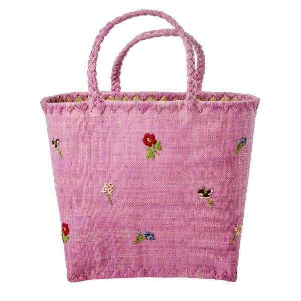 """Rice große Tasche mit Blumen """"Raffia"""" (Pink)-1"""