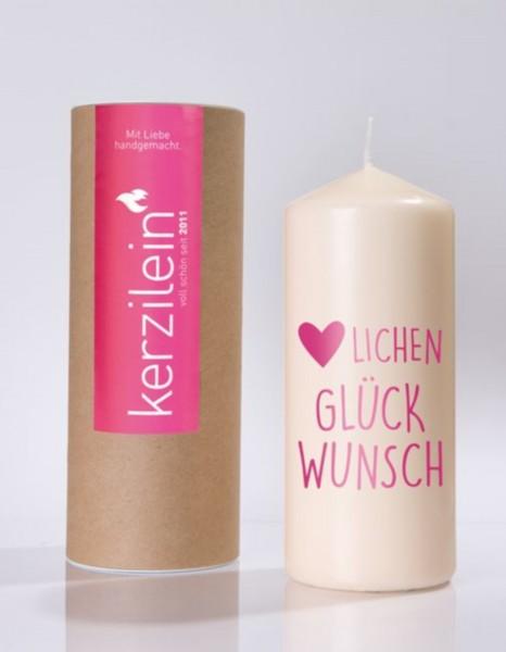 """Kerze """"Herzlichen Glückwunsch"""" (Pink)"""