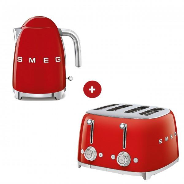 smeg Set – 4-Schlitz-Toaster und Wasserkocher feste Temperatur (Rot)